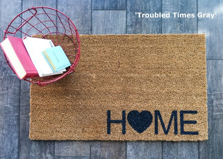 heart and home doormat hand painted outdoor welcome mat for front or back entryway shows your personality as your guests arrive