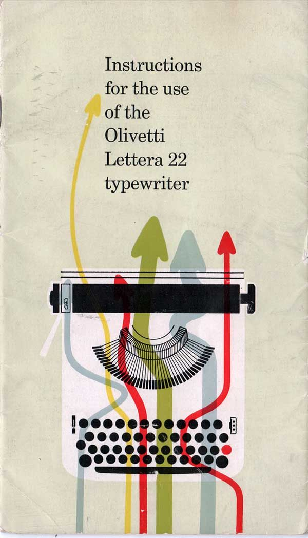 cover of the Olivetti Lettera 22 instruction manual by Giovanni Pintori (1950's)