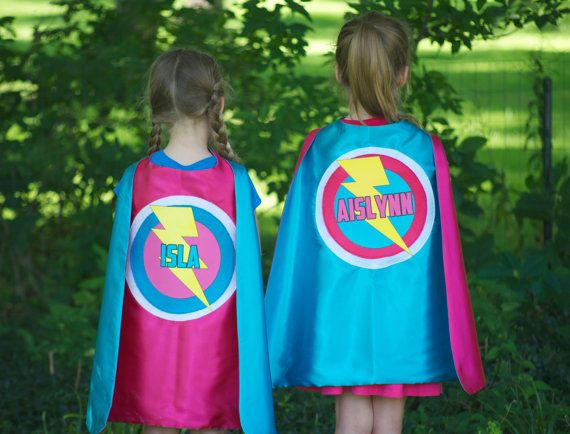 girls personalized with full name superhero cape double sided and customized perfect
