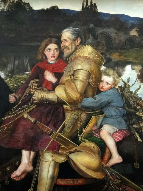 John Everett Millais | A dream of the past - Sir Idumbras at the ford, 1856-1857, detail1