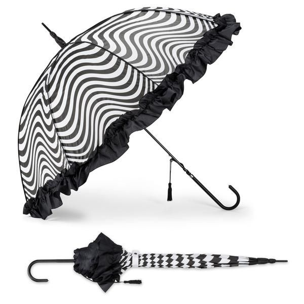 Trimmed with a ruffle, checks swirl around this generously sized stick umbrella. Features easy, automatic opening and black tassel accent.