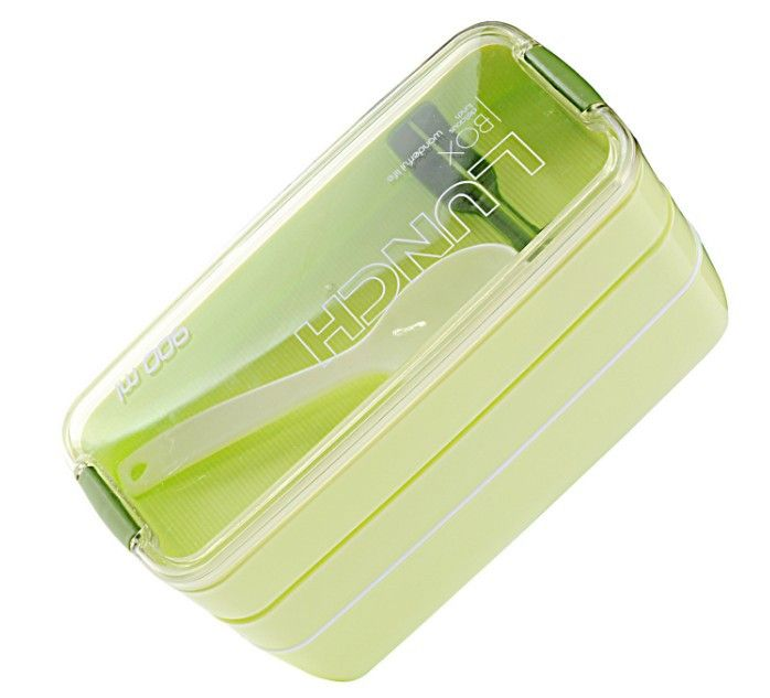 900ml 3 Layers Portable Microwave Lunch Box With Spoon Candy Color Bento Box Food Containers Lunchbox Eco-Friendly