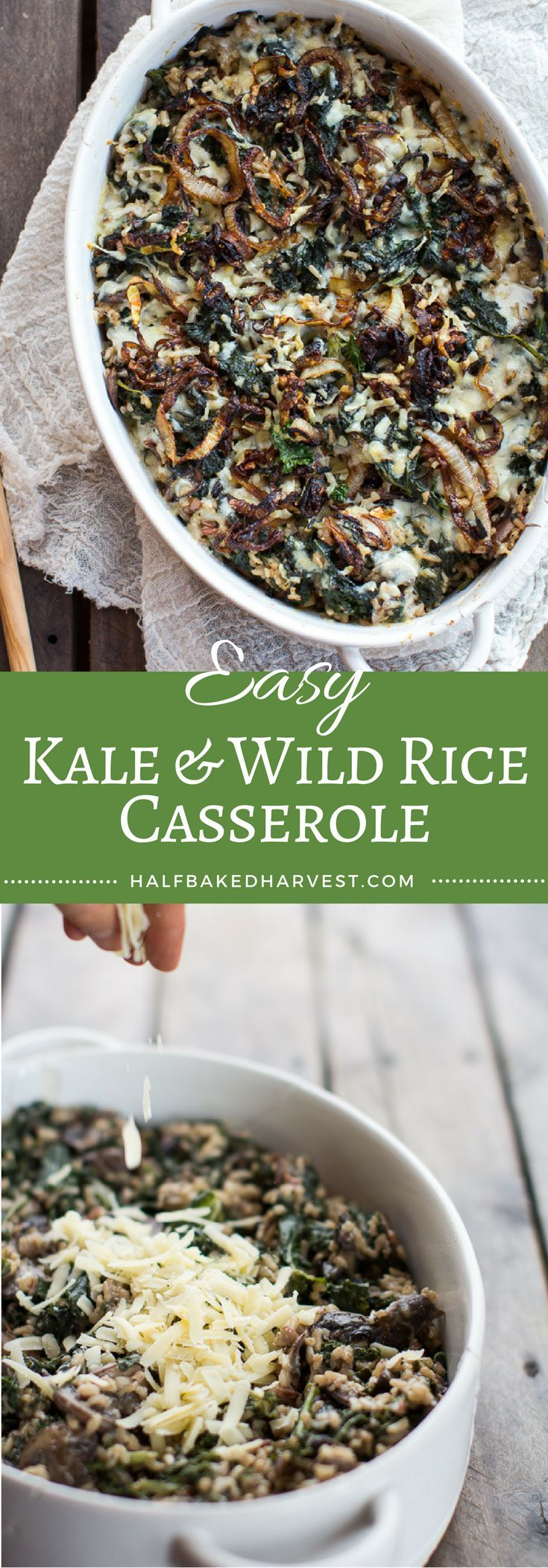 Kale and Wild Rice Casserole | halfbakedharvest.com @Half Baked Harvest