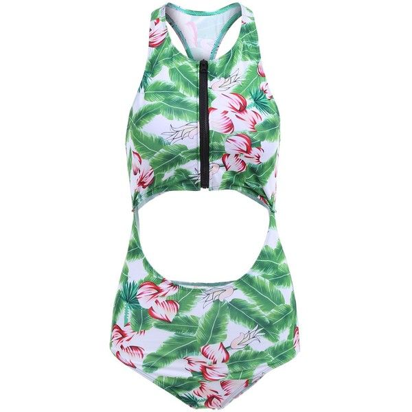 Lotus Print Cut Out Racerback Swimsuit ($15) ❤ liked on Polyvore featuring swimwear, one-piece swimsuits, cut out swim suit, swimming costume, racerback bathing suits, cut out bathing suit and cut-out bathing suits
