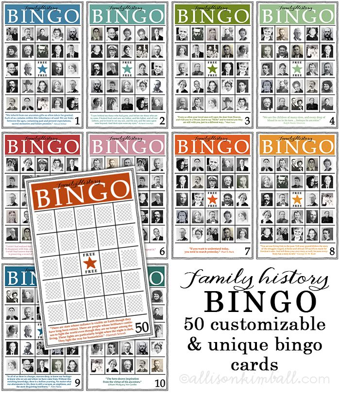 Free Family History Bingo Cards from Allison Kimball