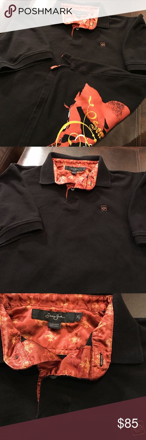 🎉SALE🎉 Sean John Polo Shirt Excellent condition.  Size XL.  Short sleeves.  Black with burnt red, white and gold accent design.  Design mostly on back in a rose and leaf screen print.  Logo detailed as well.  100% cotton.  Comfy and cozy. Heavier material.  No flaws!!! Awesome shirt. Sean John Shirts Polos