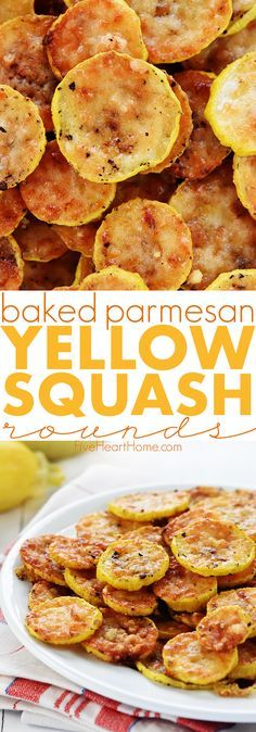 Baked Parmesan Yellow Squash Rounds Recipe ~ an easy and delicious summer side dish recipe requiring just two ingredients: yellow squash and grated Parmesan!   FiveHeartHome.com