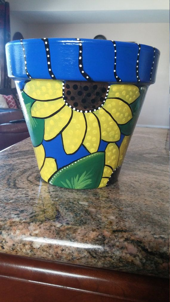 Pottery Hand Painted Clay Pot Planter Teal Flower Pot Hand