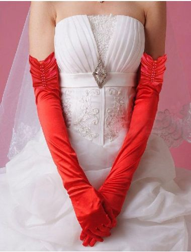 Sexy, Red Elbow Length Pearl Satin Long Gloves| Accesories | StringsAndMe