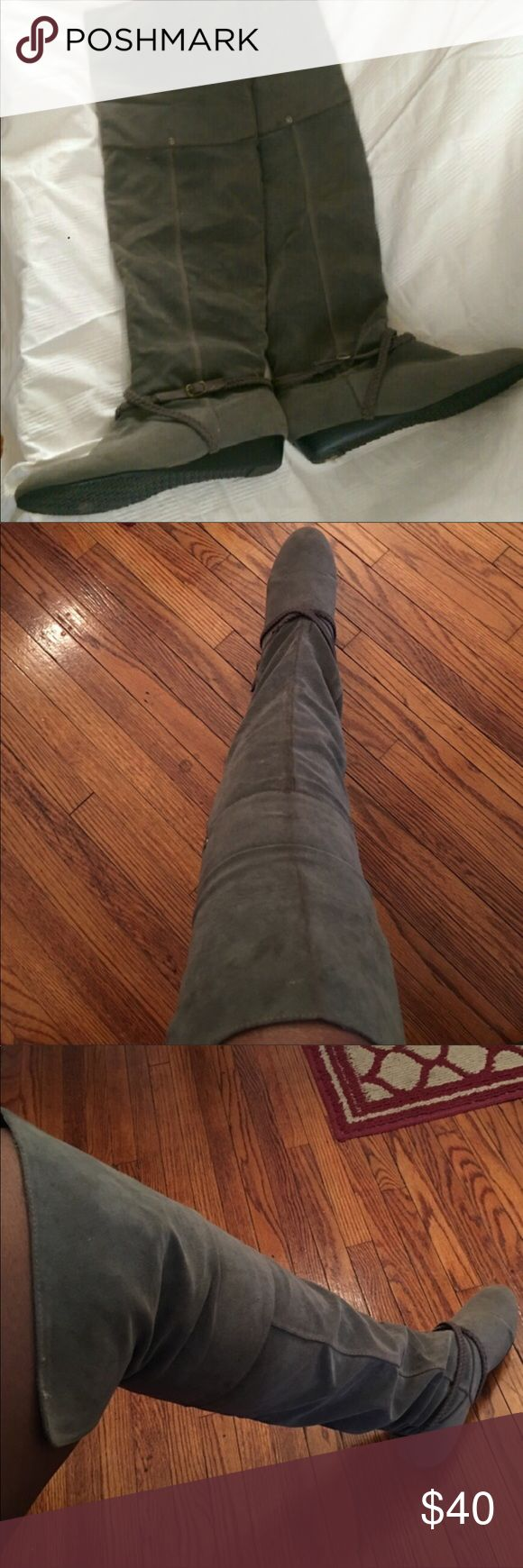 Over the knee Gray Boots, Size 7.5 Over the knee, faux suede, flat boots. In great condition. Fits size 7.5. Always accepting offers! Jacobies Shoes Over the Knee Boots