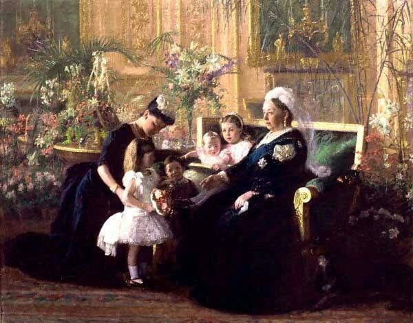 Tuxen: Victoria with her daughter in law the Duchess of Albany and various grandchildren