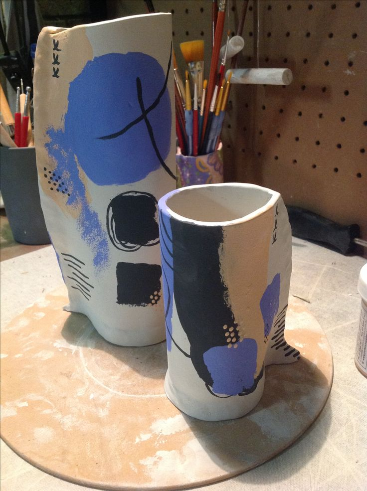 Handmade pottery vases. First stages