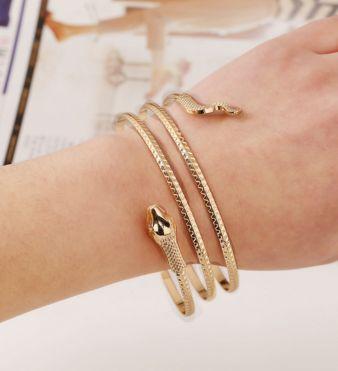 Snake Shaped Gold Metal Bracelet