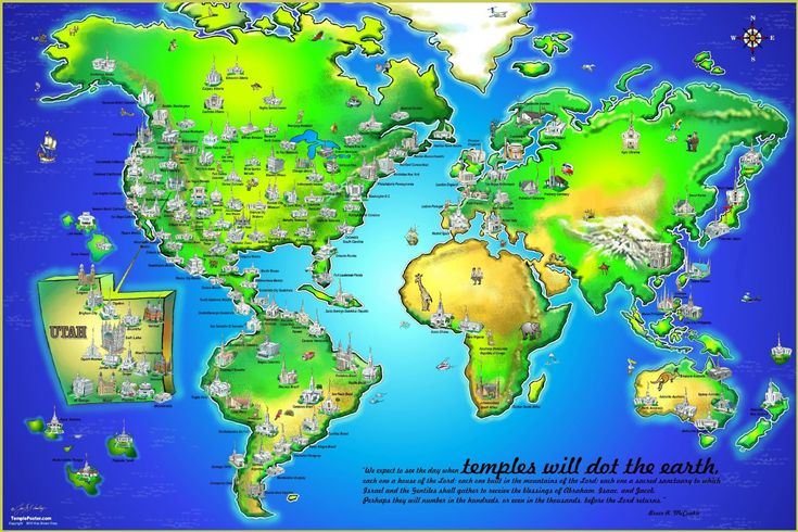 "This exclusive LDS Temple Map is a great visual of how temples dot the earth.24"" X 36"" LDS Temple PosterFull color PosterFeatures the recent LDS Temples of the world.This brilliant poster is dynamic, artistic, and fun.Each poster comes individually..."