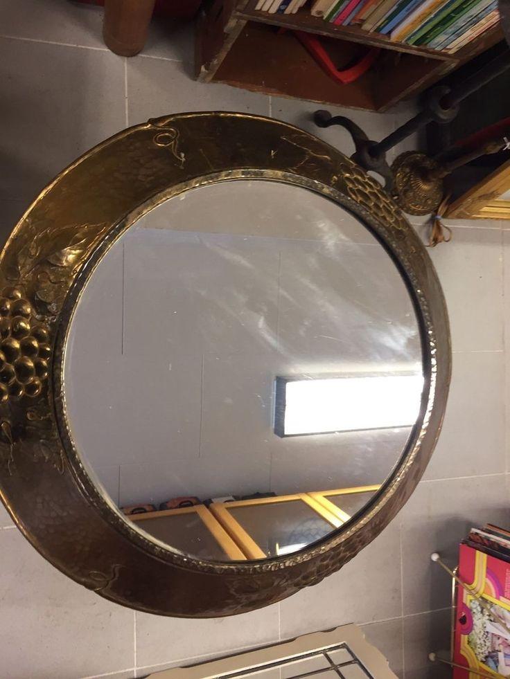 Vægspejl, Rundt spejl med messing kant Dia ca 54 cm Kan afhentes i Vig og København
