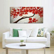 El yapımı Soyut Güzel Kırmızı Çiçek Ağacı Yağlıboya Tuval Canlı Çiçek Resim Duvar Sanatı Ev Dekor Güzel Hediye(China (Mainland))