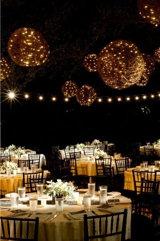 big backyard tent wedding ideas | Cómo Decorar una Fiesta al Aire Libre con Luces para exterior