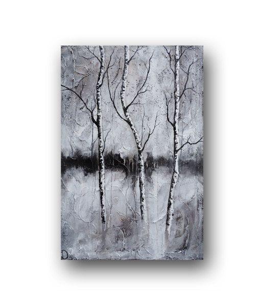 Painting birch tree painting black white painting for Black white canvas paintings