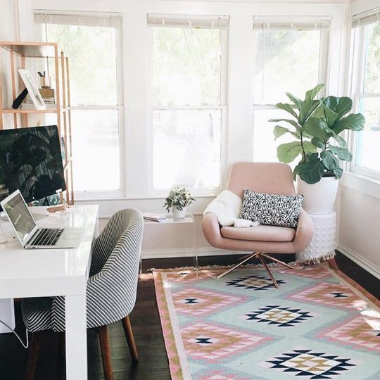 If I could get these exact chairs for the office, I would love it! Like the idea of not having a typical office chair. I like the simple white desk. Also I love the white walls, the plant, clear side table, and the open windows with natural light.