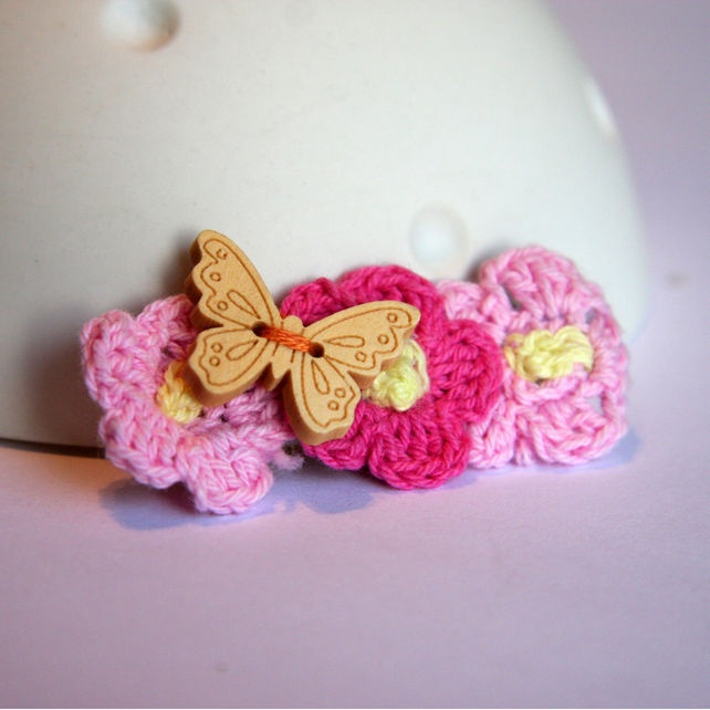Crochet Hair Clips Pinterest : Crochet flowers, Crocodile and Hair clips on Pinterest
