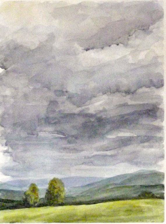 stormy sky country landscape watercolor painting by ollina