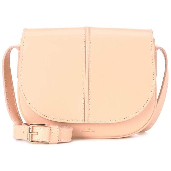A.P.C. Betty Leather Crossbody Bag ($435) ❤ liked on Polyvore featuring bags, handbags, shoulder bags, beige, leather crossbody purse, beige shoulder bag, leather handbags, genuine leather handbags and crossbody handbag