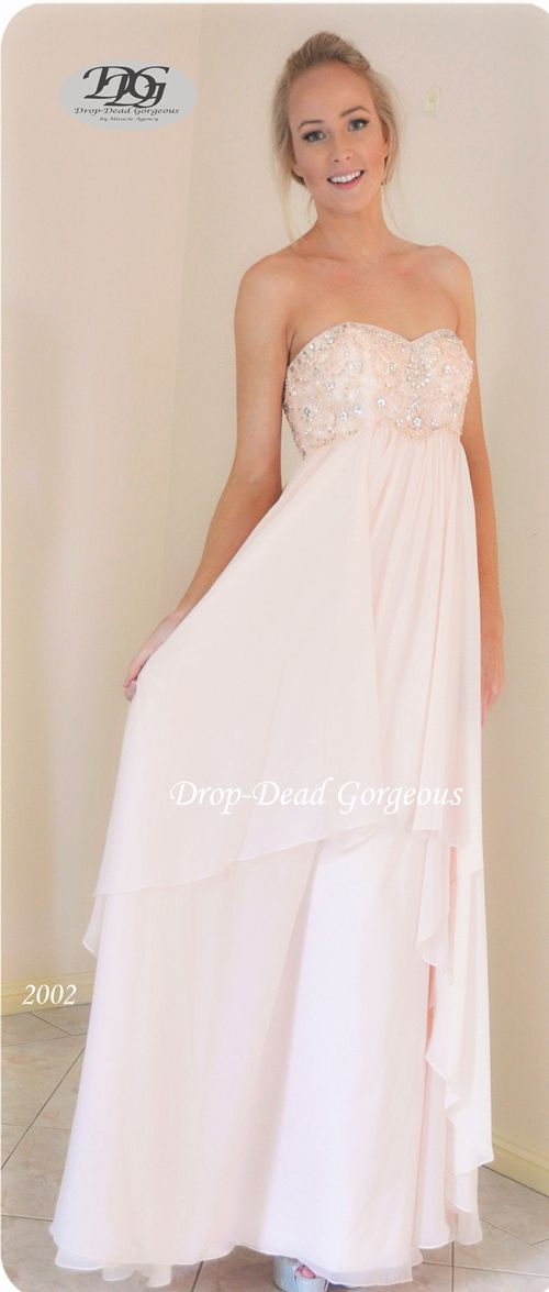 Timeless Bridesmaids Dress:  Floss silk  gown with beaded detail bust (with removable straps provided).  #DDGMA #DropDeadGorgeous #MiracleAgency #Schoolformal #Maids  www.miracleagency.net
