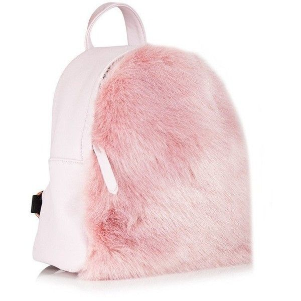 Charlie Pink Fur Mini Backpack (145 TND) ❤ liked on Polyvore featuring bags, backpacks, mini bag, daypack bag, pink fur bag, mini rucksack and backpack bags
