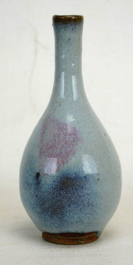 Chinese (JunYao) Light Blue Glazed Bottle Vase with a light blue and pink glaze. Foot is unglazed. Yuan or Ming dynasty. 13/14th century. Height - 7 3/4''