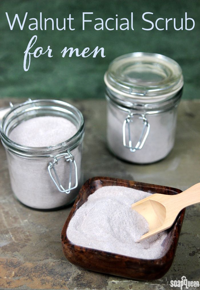 Learn how to make this Walnut Facial Scrub for men, using baking soda and walnut shells. It's great for prepping skin for shaving.