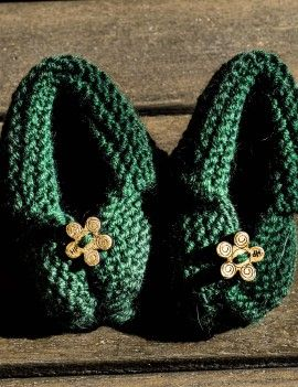 Knitted green booties