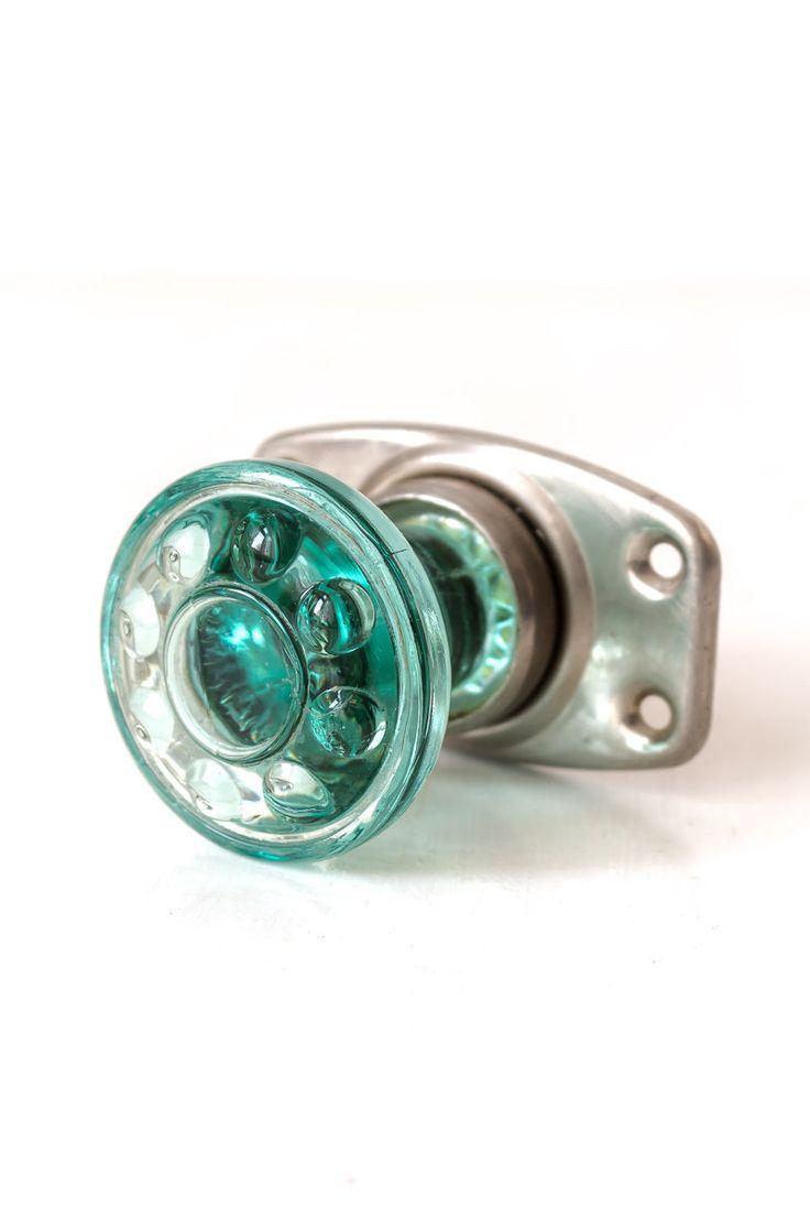 Colored glass door knobs - Green Glass Door Knob Vintage Door Knob Door Handle Door Pull Retro Decor Loft Decor By