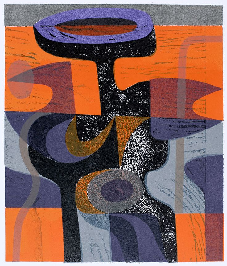 'Purple Form' woodcut and stencil print by Peter Green OBE http://www.stjudesprints.co.uk/collections/peter-green