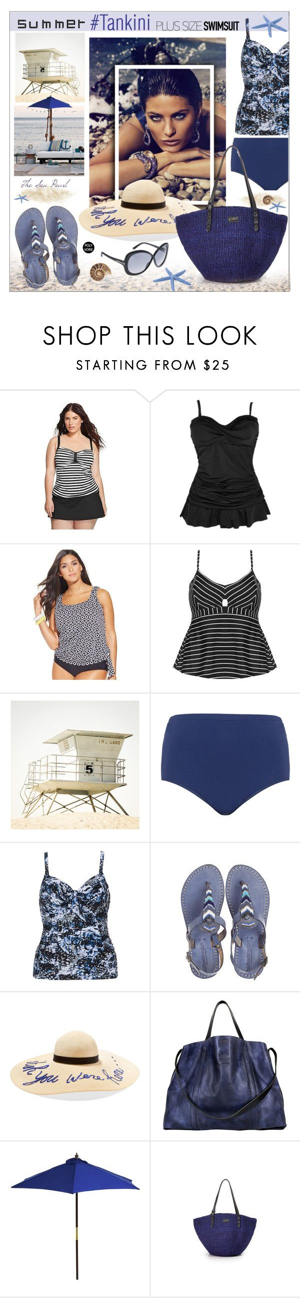 """Stylish Curves: Tankini"" by theseapearl ❤ liked on Polyvore featuring Clean Water, Swim Solutions, Cactus, Maxine Of Hollywood, Robyn Lawley, Laidback London, Eugenia Kim, Old Trend, Pier 1 Imports and Clare V."