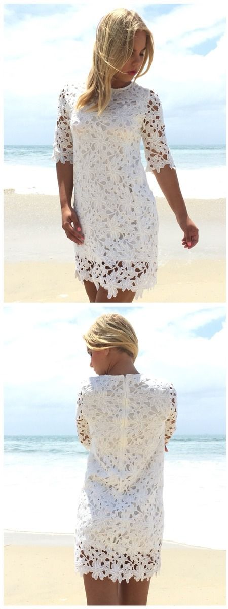 Cut Above Crochet Shift Dress in White