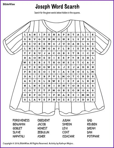 Joseph Word Search - Kids Korner - BibleWise                                                                                                                                                      More