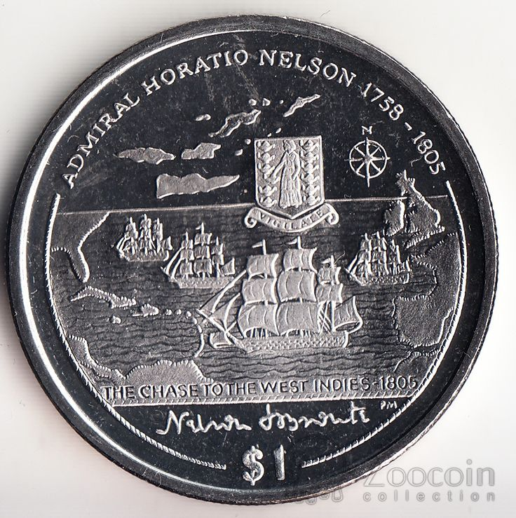 Брит. Виргинские острова 1 доллар 2005 Жизнь Г. Нельсона (2)