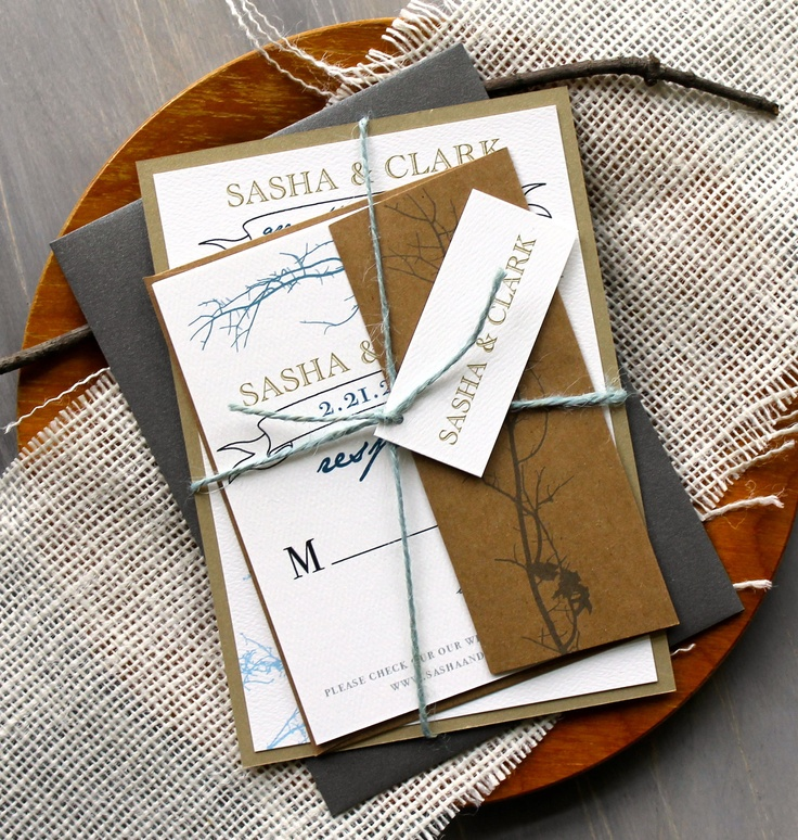 Ivory Twig - Rustic Wedding Invitations, Gold, Rustic Brown & Blue - Purchase to Start the Ordering Process. $100.00, via Etsy.