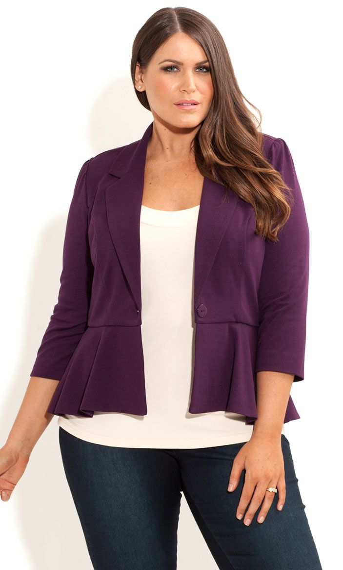 City Chic - PONTE PEPLUM JACKET - Women's plus size fashion