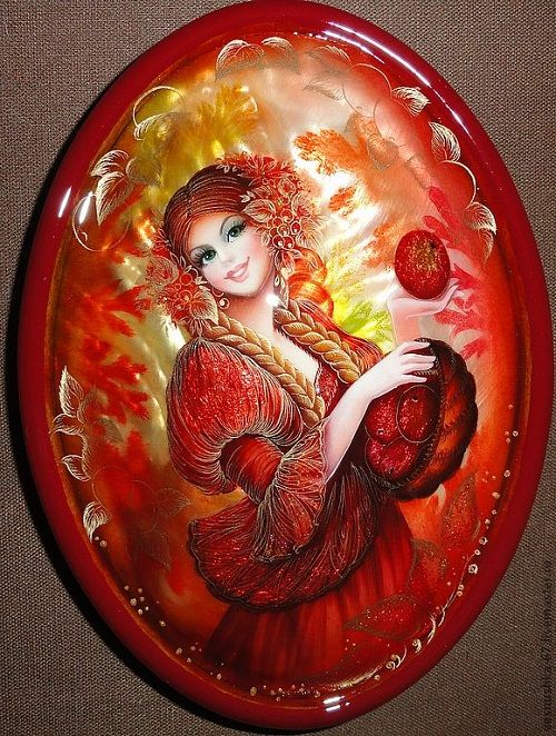 golden apples. Jewelry boxes by Russian artist Vesnushka