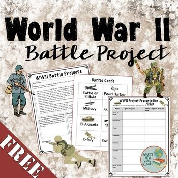 This FREE WWII Project includes two versions of the project handout (one for struggling learners and one for advanced students) with rubric, cards so that they can select their battle, and a notes response sheet for presentations.***This is a part of my time and money-saving WWII Interactive Notebook.***Check it Out HEREOr get it all together and save HUGE with my steeply discounted World History Interactive Notebook MEGA BundleIf you like this, try:Holocaust Video WebquestPearl Harbor Man…