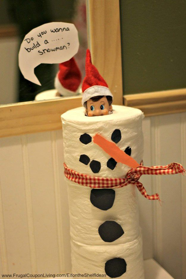 Toilet Paper Snowman Elf | 18 Snowman Ideas To Populate Your Homestead | Cute And Creative Crafts For A Festive Holiday by Pioneer Settler at http://pioneersettler.com/18-snowman-ideas-homestead/