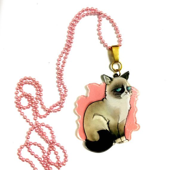 Grumpy Cat Necklace Cool Funny Acrylic / Plastic by XenaStyle