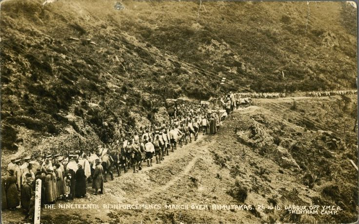 The Nineteenth Reinforcement marching over the Rimutakas 1916 [P2-106-252] at Upper Hutt City Library
