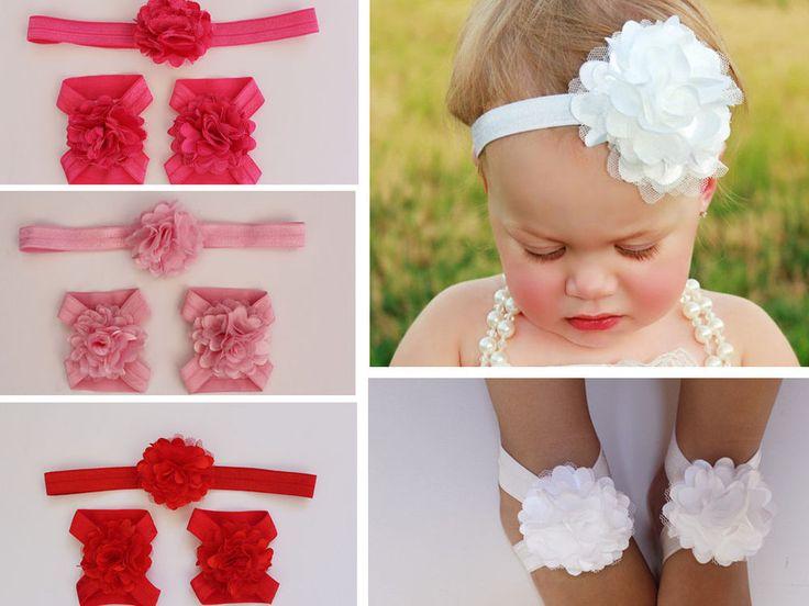 Set of Baby Girl Infant Headband & Baby Girl Foot Flower Shoes Sandals Barefoot
