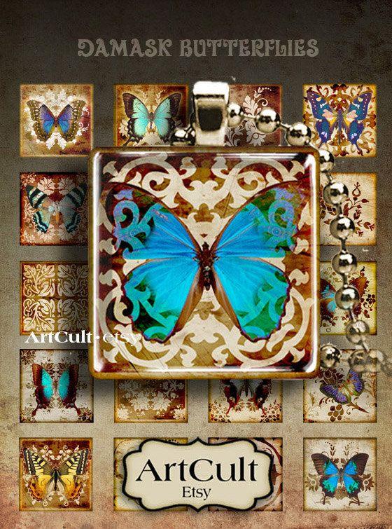 1 x 1 pouce 25mm images de papillons Damas Collage feuille
