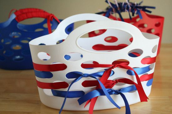 Holiday Ribbon Wrapped Gift Baskets - You can change the colors to fit the occasion. Great idea.