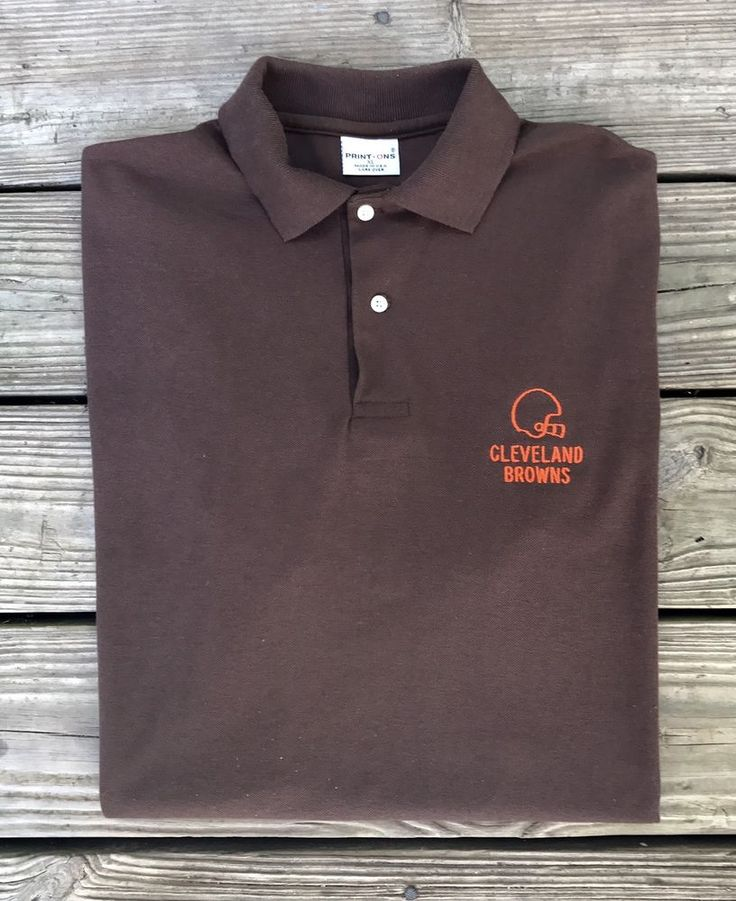 Vintage 80s CLEVELAND BROWNS NFL Football Embroidered Polo Shirt Men's XL #PrintOns #ClevelandBrowns