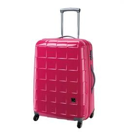 "Hard-sided wheeled spinner suitcase in pink   Product: 4-Wheel suitcase.Construction Material: Polycarbonate and ABSColor: PinkFeatures:  Hard-sided caseTSA fixed combination zip lockGloss finishFully lined interior with mesh pockets   Dimensions: 30"" H x 22"" W x 13"" D"
