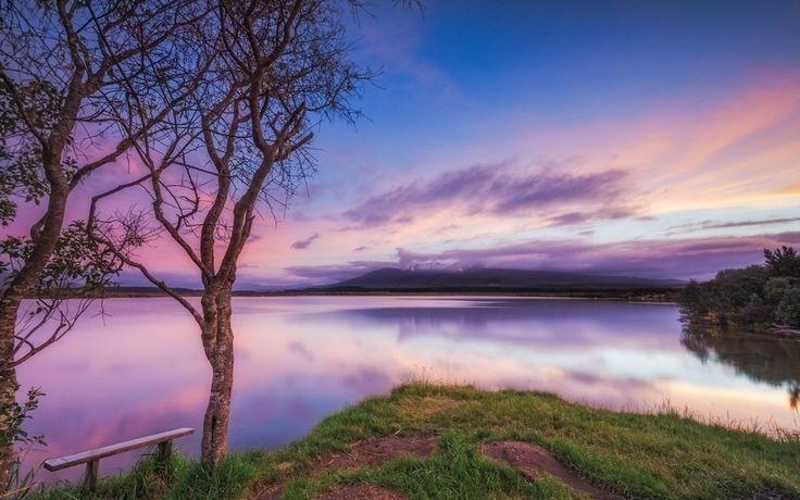 закат, озеро, скамья